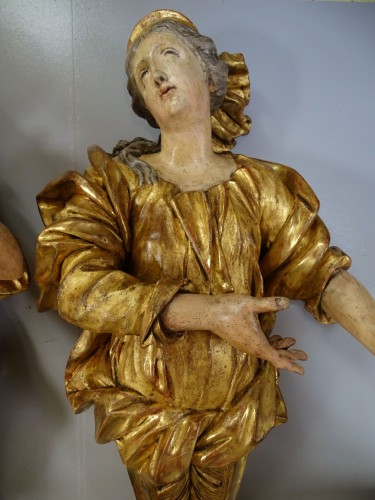 Giltwood and polychromed sculptures late 17th century - Sculpture Style French Regence