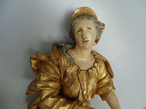 Giltwood and polychromed sculptures late 17th century - French Regence