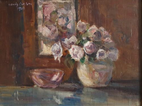 Lovis Corinth (1858-1915)  - Rosen  in runder vase