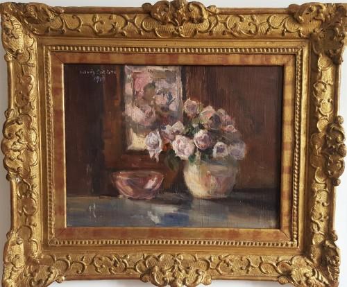 Lovis Corinth (1858-1915)  - Rosen  in runder vase -