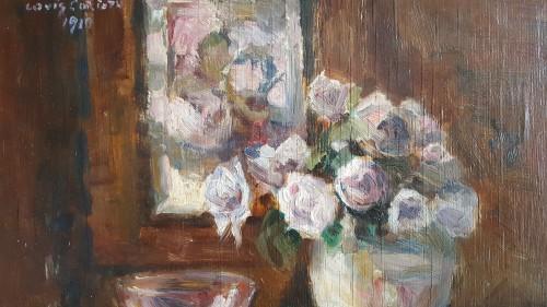 Lovis Corinth (1858-1915)  - Rosen  in runder vase - Art nouveau