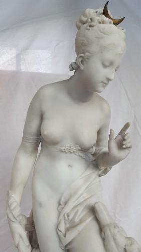 Albert-Ernest Carrier-Belleuse (1824-18887) - Diana the huntress - Sculpture Style Napoléon III