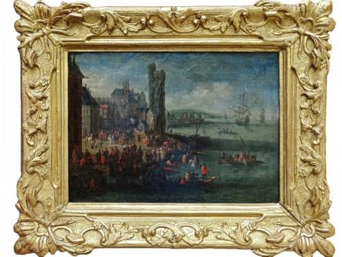 Pieter Casteels the Younger II - Port scene with Turkish emissaries