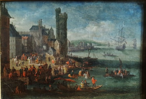 Pieter Casteels the Younger II - Port scene with Turkish emissaries - Paintings & Drawings Style Louis XIV