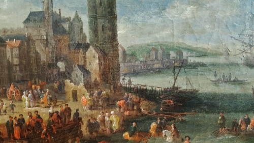 Paintings & Drawings  - Pieter Casteels the Younger II - Port scene with Turkish emissaries