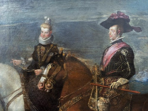 Paintings & Drawings  - Diego Velasquez (1599-1660) - Equestrian Portrait of King Felipe IV and Margarita