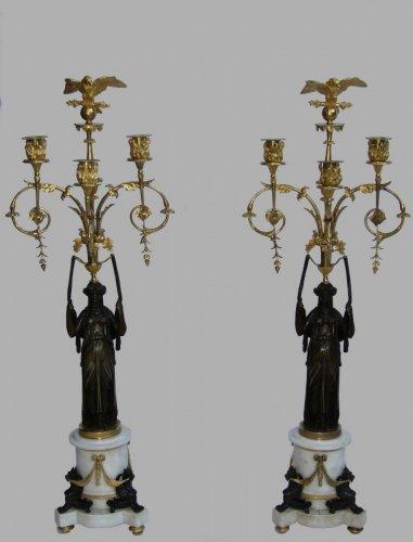 19th century - Pair of Empire period candelabra