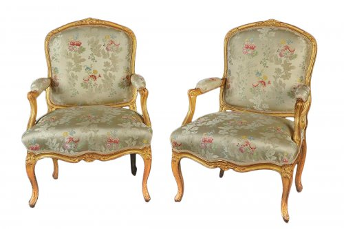 Pair of Louis XV armchairs stamped Jean-Baptiste GOURDIN