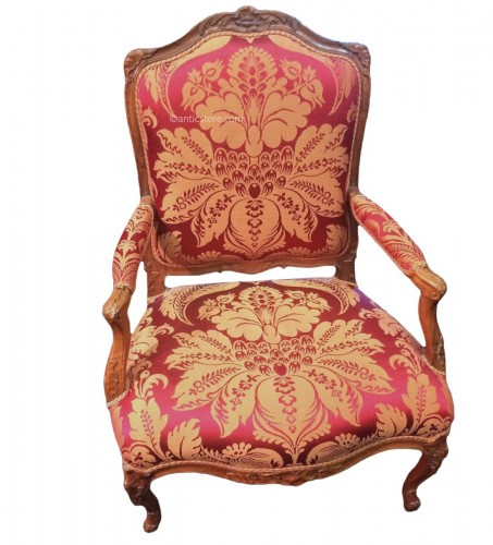 Large French Regence period walnut armchair