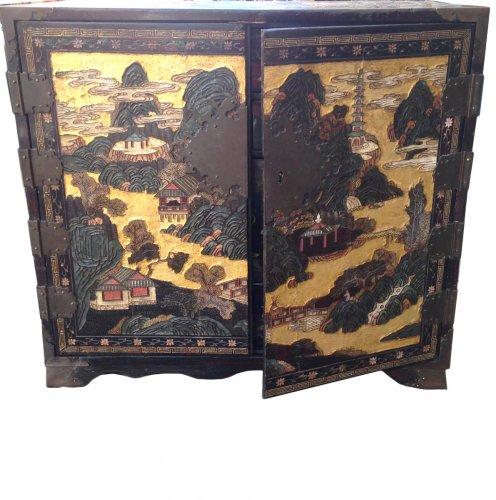 Cabinet in lacquer of Coromandel, circa 1680-1700