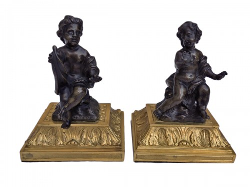 Two patinated and gilt-bronze groups