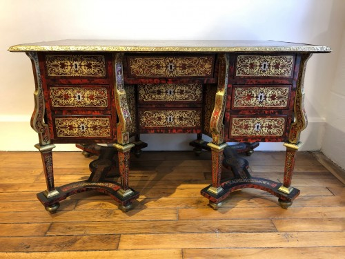 Mazarin desk in Boulle marquetry, Louis XIV period end of the 17th century -
