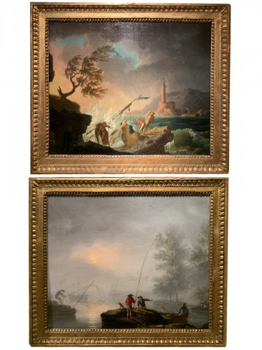 Pair of maritime scenes, french school of the 18th century