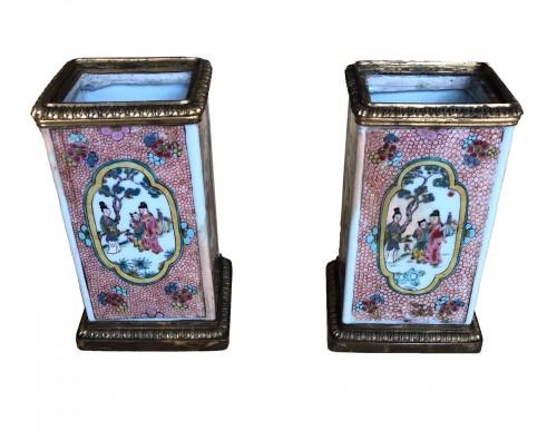 Pair of Kangxi Famille Rose vases