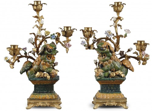 Pair of Foo dog candelabras Kangxi period
