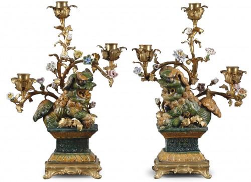 Pair of Foo dog candelabras Kangxi period