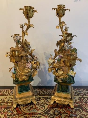 Pair of Foo dog candelabras Kangxi period - Lighting Style