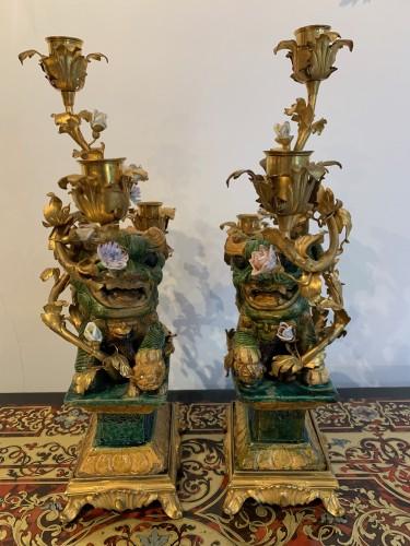 Lighting  - Pair of Foo dog candelabras Kangxi period