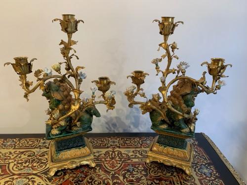 Pair of Foo dog candelabras Kangxi period -