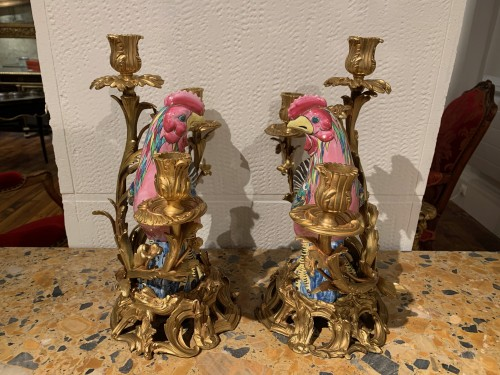 Pair of roosters mounted in candelabra - Lighting Style