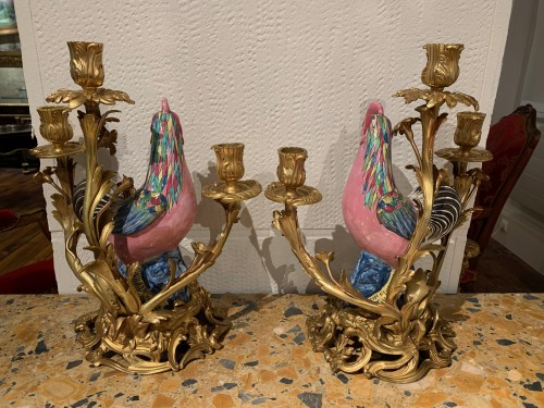 Lighting  - Pair of roosters mounted in candelabra