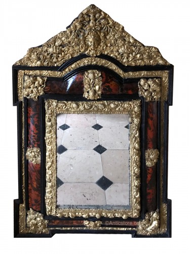 Louis XIV tortoiseshell and brass mirror