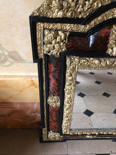Louis XIV tortoiseshell and brass mirror -