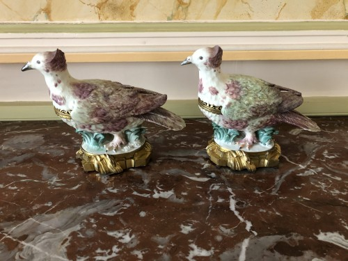 Pair of partridges forming pot-pourris, Louis XV period - Decorative Objects Style Louis XV