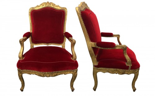 Suite of four Regence period armchairs
