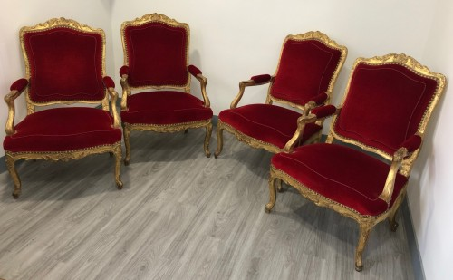 Suite of four Regence period armchairs - French Regence