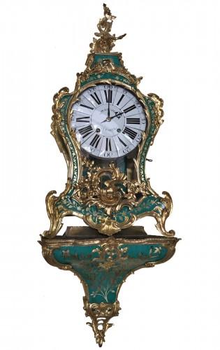 Louis XV period green horn applique cartel