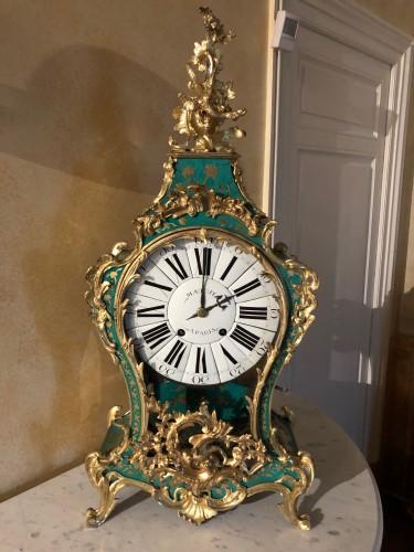 Louis XV period green horn applique cartel - Horology Style Louis XV