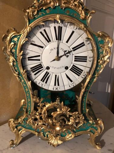 Louis XV period green horn applique cartel -