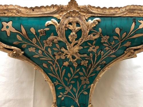 Louis XV - Louis XV period green horn applique cartel