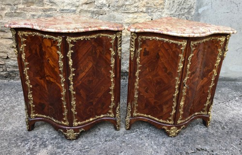 Pair of Regency period corner pieces stamped MIGEON - Furniture Style French Regence