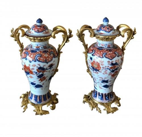 A pair of Imari covered vases