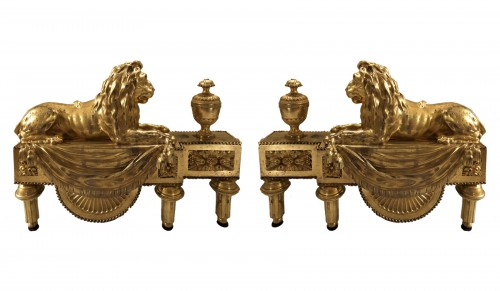 Pair of andirons with lions, Louis XVI period