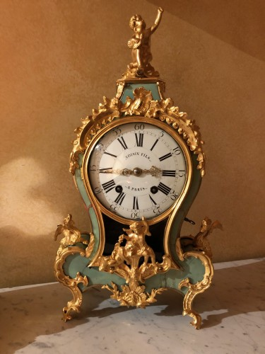 Horology  - Louis XV period green cartel with chimeras