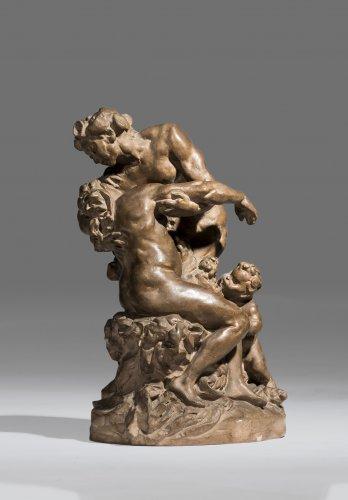 "Aimé-Jules DALOU (1838-1902) a Stoneware roup ""Bacchus comforting Ariadne"""
