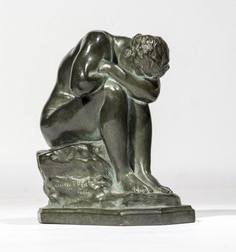 """Aimé-Jules DALOU ( 1838-1902) Bronze figure """"Le Miroir brisé"""""""