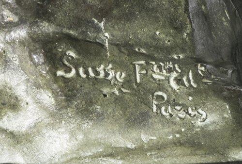 """Aimé-Jules DALOU ( 1838-1902) Bronze figure """"Le Miroir brisé"""" - Sculpture Style Art nouveau"""