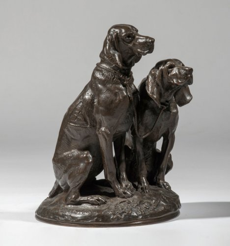 Emmanuel Frémiet (1824-1910) - Sitting dogs - Sculpture Style