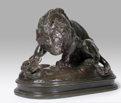 Antoine-Louis Barye (1795-1875) - Lion with snake n1 (1838) - Sculpture Style