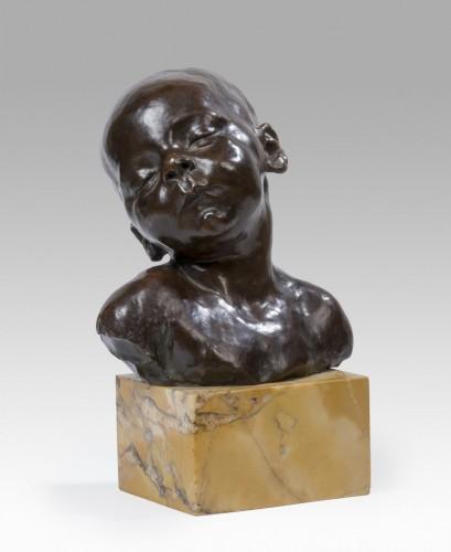Sculpture  - DALOU Jules (1838-1902) - Buste de bébé endormi