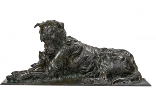 PAILLET Charles (1871-1937) - Dog and kitty