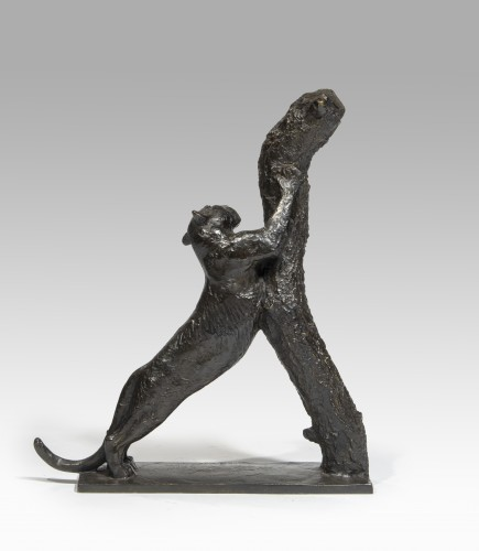 GUYOT Georges-Lucien (1885-1973), Panther sharpened her claws (small model) - Sculpture Style