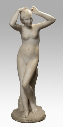 SUCHETET Auguste-Edmé (1854 - 1932) - Naked woman doing her hair - Sculpture Style