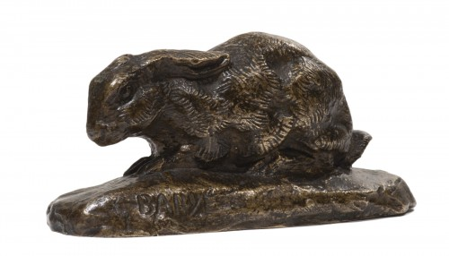 BARYE Antoine-Louis (1795-1875) - Rabbit lying ears with naturalist base