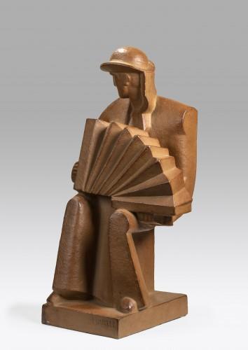 MARTEL Jan et Joel (1896-1966 French), Accordion player    - Sculpture Style Art Déco