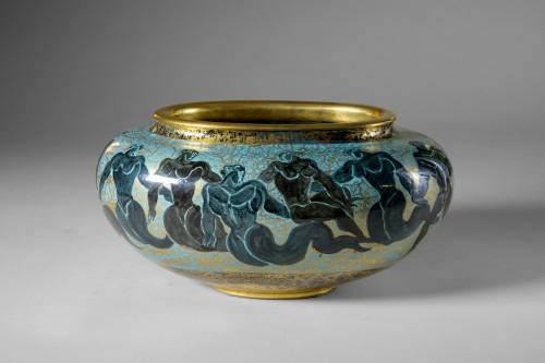 Porcelain & Faience  - Jean Mayodon (1893-1967) -  Ovoid cup on heel